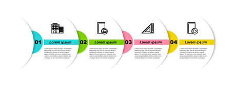 Set line Hotel building, Audio book, Triangular ruler. Business infographic template. Vector