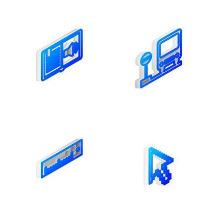Set Isometric line Bus stop, Audio book, Ruler and Pixel arrow cursor icon. Vector