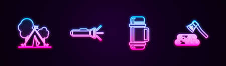 Set line Tourist tent with flag, Flashlight, bottle container and Wooden axe and wood. Glowing neon icon. Vector
