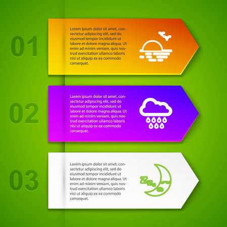 Set line Sunset, Cloud with rain, Moon icon. Business infographic template. Vector Ilustrace