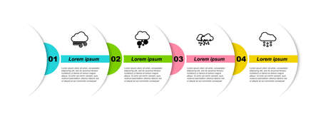 Set line Windy weather, Cloud with snow. Business infographic template. Vector Ilustrace