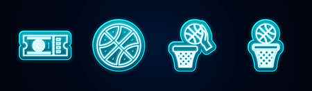 Set line Basketball game ticket, and basket. Glowing neon icon. Vector Ilustrace