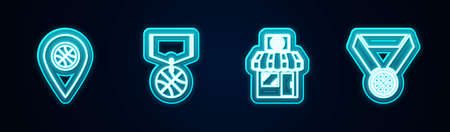 Set line Location with basketball ball, Basketball medal, Sports shop. Glowing neon icon. Vector Ilustrace