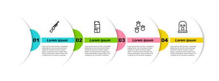 Set line Shotgun, Lighter, Paw print and Balaclava. Business infographic template. Vector Ilustración de vector