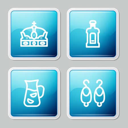 Set line Crown of spain, Orujo, Sangria and Earrings icon. Vector