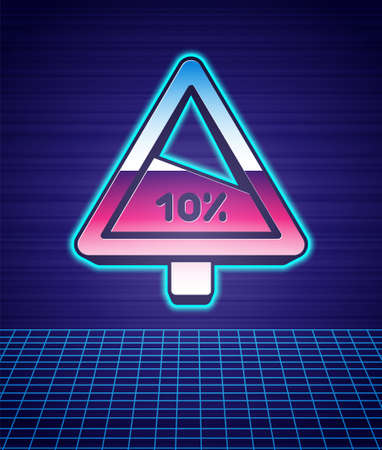 Retro style Steep ascent and steep descent warning road icon isolated futuristic landscape background. Traffic rules and safe driving. 80s fashion party. Vector