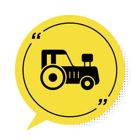 Black Tractor icon isolated on white background. Yellow speech bubble symbol. Vector