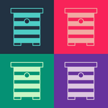 Pop art Hive for bees icon isolated on color background. Beehive symbol. Apiary and beekeeping. Sweet natural food. Vector