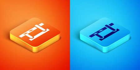 Isometric Parking car barrier icon isolated on orange and blue background. Street road stop border. Vector