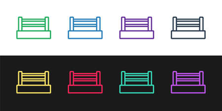 Set line Boxing ring icon isolated on black and white background. Vector