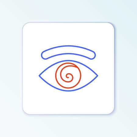 Line Hypnosis icon isolated on white background. Human eye with spiral hypnotic iris. Colorful outline concept. Vector