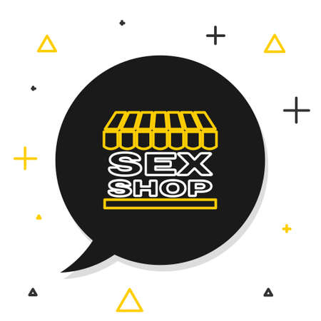 Line Sex shop building with striped awning icon isolated on white background. Sex shop, online sex store, adult erotic products concept. Colorful outline concept. Vector