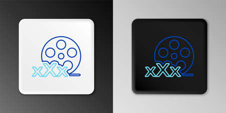 Line Film reel with inscription Sex icon isolated on grey background. Age restriction symbol. 18 plus content sign. Adult channel. Colorful outline concept. Vector