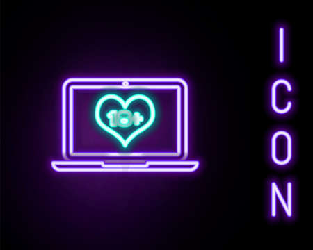 Glowing neon line Laptop computer with 18 plus content heart icon isolated on black background. Age restriction symbol. 18 plus content sign. Adult channel. Colorful outline concept. Vector Ilustrace