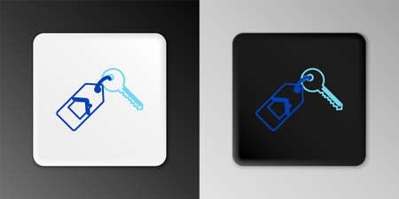 Line House with key icon isolated on grey background. The concept of the house turnkey. Colorful outline concept. Vector