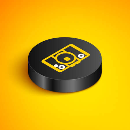 Isometric line Video game console icon isolated on yellow background. Black circle button. Vector