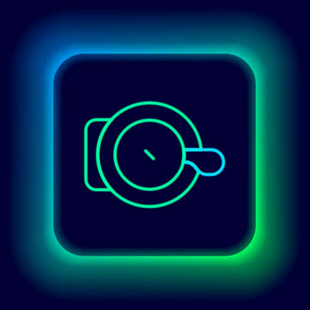 Glowing neon line Bicycle bell icon isolated on black background. Colorful outline concept. Vector