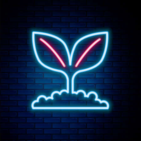 Glowing neon line Plant icon isolated on brick wall background. Seed and seedling. Leaves sign. Leaf nature. Colorful outline concept. Vector