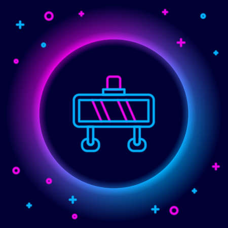 Glowing neon line Road barrier icon isolated on black background. Symbol of restricted area which are in under construction processes. Repair works. Colorful outline concept. Vector