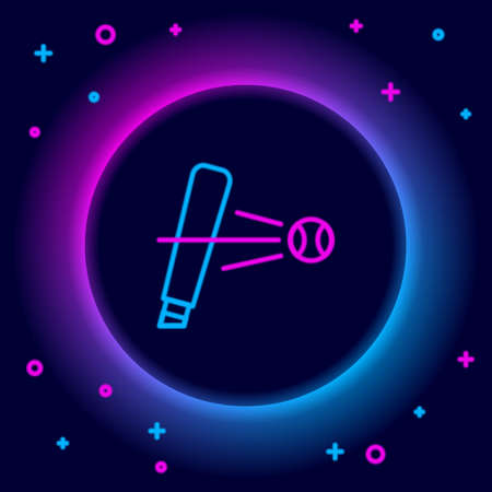 Glowing neon line Baseball bat with ball icon isolated on black background. Colorful outline concept. Vector