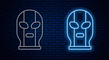 Glowing neon line Mexican wrestler icon isolated on brick wall background. Vector Ilustração Vetorial