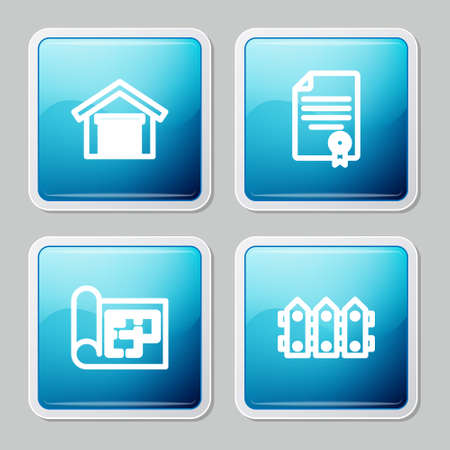 Set line Garage, House contract, plan and Garden fence wooden icon. Vector