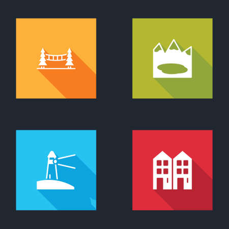 Set Capilano Suspension Bridge, Canadian lake, Lighthouse and House icon. Vector
