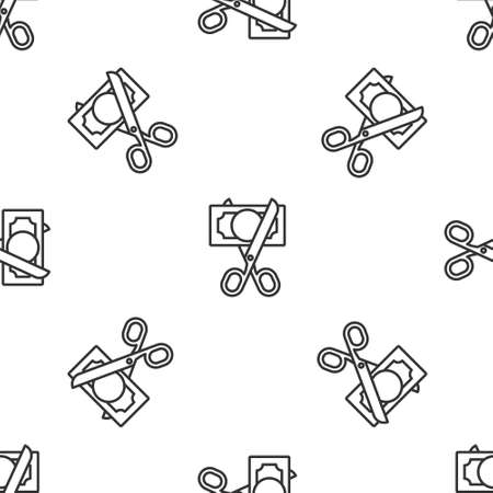 Grey line Scissors cutting money icon isolated seamless pattern on white background. Price, cost reduction or price reduction icon concept. Vector Vector Illustration