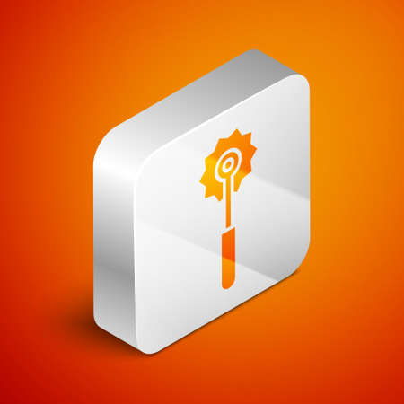Isometric Pizza knife icon isolated on orange background. Pizza cutter sign. Steel kitchenware equipment. Silver square button. Vector Illustration