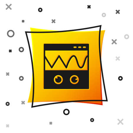 Black Oscilloscope measurement signal wave icon isolated on white background. Yellow square button. Vector Vetores