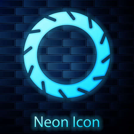 Glowing neon Bicycle wheel tire icon isolated on brick wall background. Bike race. Extreme sport. Sport equipment. Vector Vetores