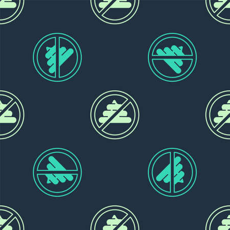 Green No shit icon isolated seamless pattern on blue background. Vector