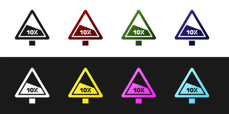 Set Steep ascent and steep descent warning road icon isolated on black and white background. Traffic rules and safe driving. Vector
