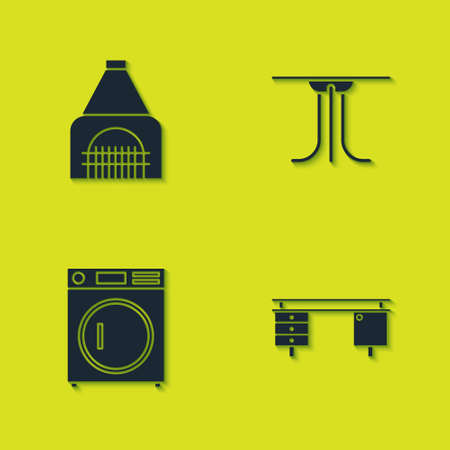 Set Interior fireplace, Office desk, Washer and Round table icon. Vector