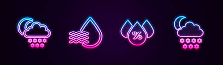 Set line Cloud with snow and moon, Water drop percentage, and . Glowing neon icon. Vector