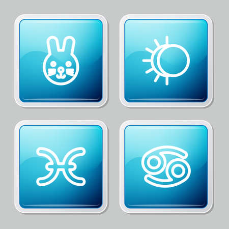 Set line Rabbit zodiac, Eclipse of the sun, Pisces and Cancer icon. Vector