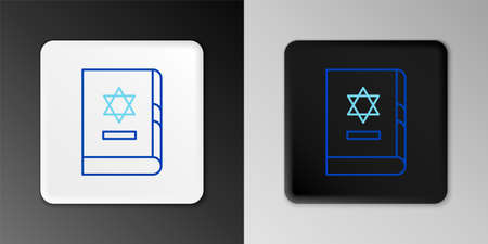 Line Jewish torah book icon isolated on grey background. On the cover of the Bible is the image of the Star of David. Colorful outline concept. Vector