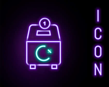 Glowing neon line Donate or pay your zakat as muslim obligatory icon isolated on black background. Muslim charity or alms in ramadan kareem before eid al-fir. Colorful outline concept. Vector