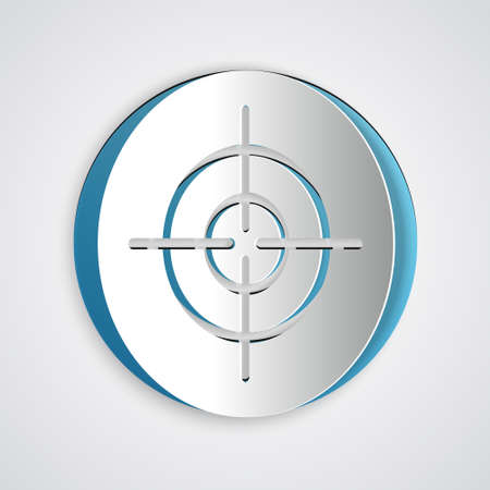 Paper cut Target sport icon isolated on grey background. Clean target with numbers for shooting range or shooting. Paper art style. Vector Vettoriali