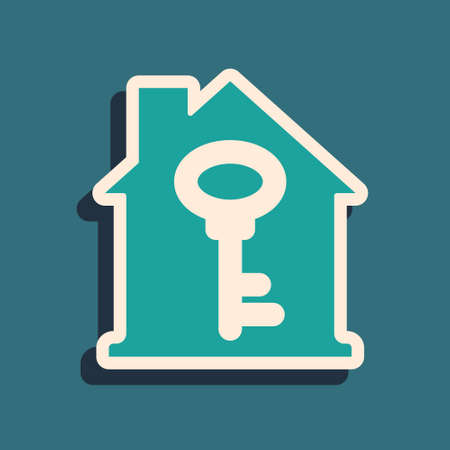 Green House with key icon isolated on green background. The concept of the house turnkey. Long shadow style. Vector