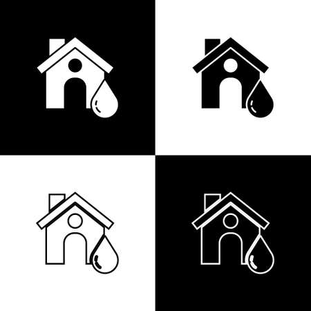 Set House flood icon isolated on black and white background. Home flooding under water. Insurance concept. Security, safety, protection, protect concept..