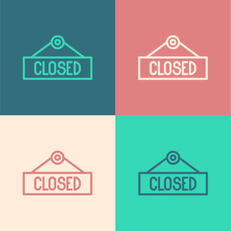 Pop art line Hanging sign with text Closed icon isolated on color background. Business theme for cafe or restaurant. Vector Illustration