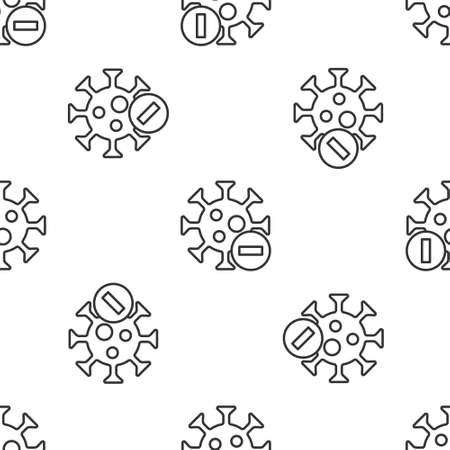 Grey line Negative virus icon isolated seamless pattern on white background. Bacteria and germs, cell cancer, microbe, fungi. Vector.