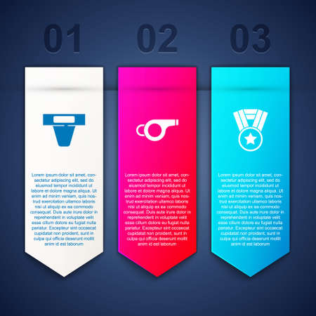 Set Groin guard, Whistle and Medal. Business infographic template. Vector