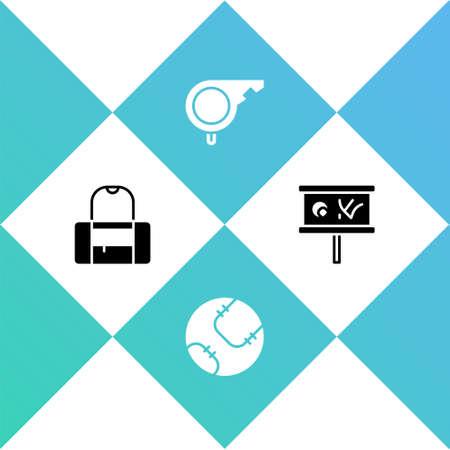 Set Sport bag, Baseball ball, Whistle and Planning strategy icon. Vector Vektoros illusztráció