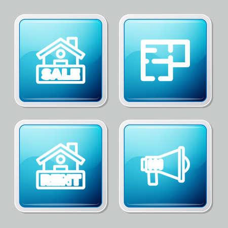 Set line Hanging sign with Sale, House plan, Rent and Megaphone icon. Vector Vektoros illusztráció