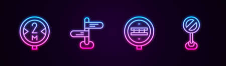 Set line Road traffic sign, Railroad crossing and Stop. Glowing neon icon. Vector