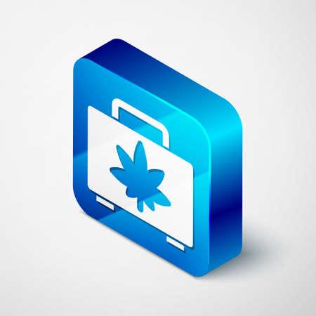 Isometric Shopping box of medical marijuana or cannabis leaf icon isolated on grey background. Buying cannabis. Hemp symbol. Blue square button. Vector Illustration