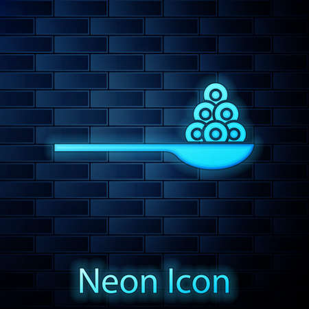 Glowing neon Caviar on a spoon icon isolated on brick wall background. Vector.