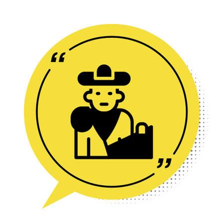 Black Spain bullfight, matador icon isolated on white background. Traditional Spanish entertainment. Yellow speech bubble symbol. Vector